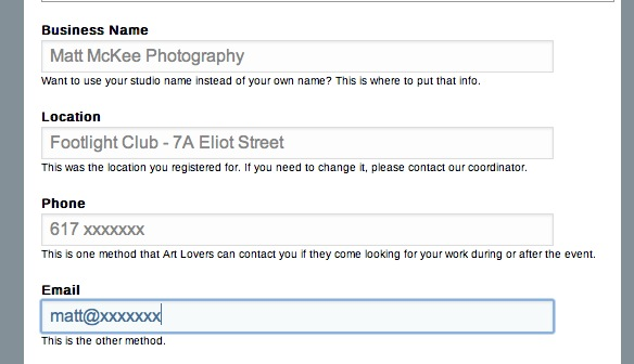 Make sure your contact information is correct so that the Art Lovin Public can contact you about your work!