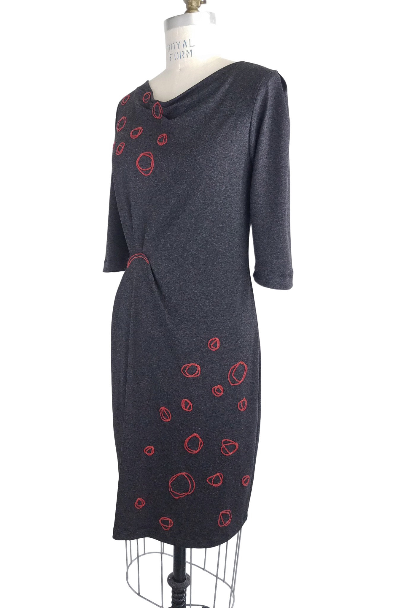 Double Circle Dress in Charcoal/Firebrick Red