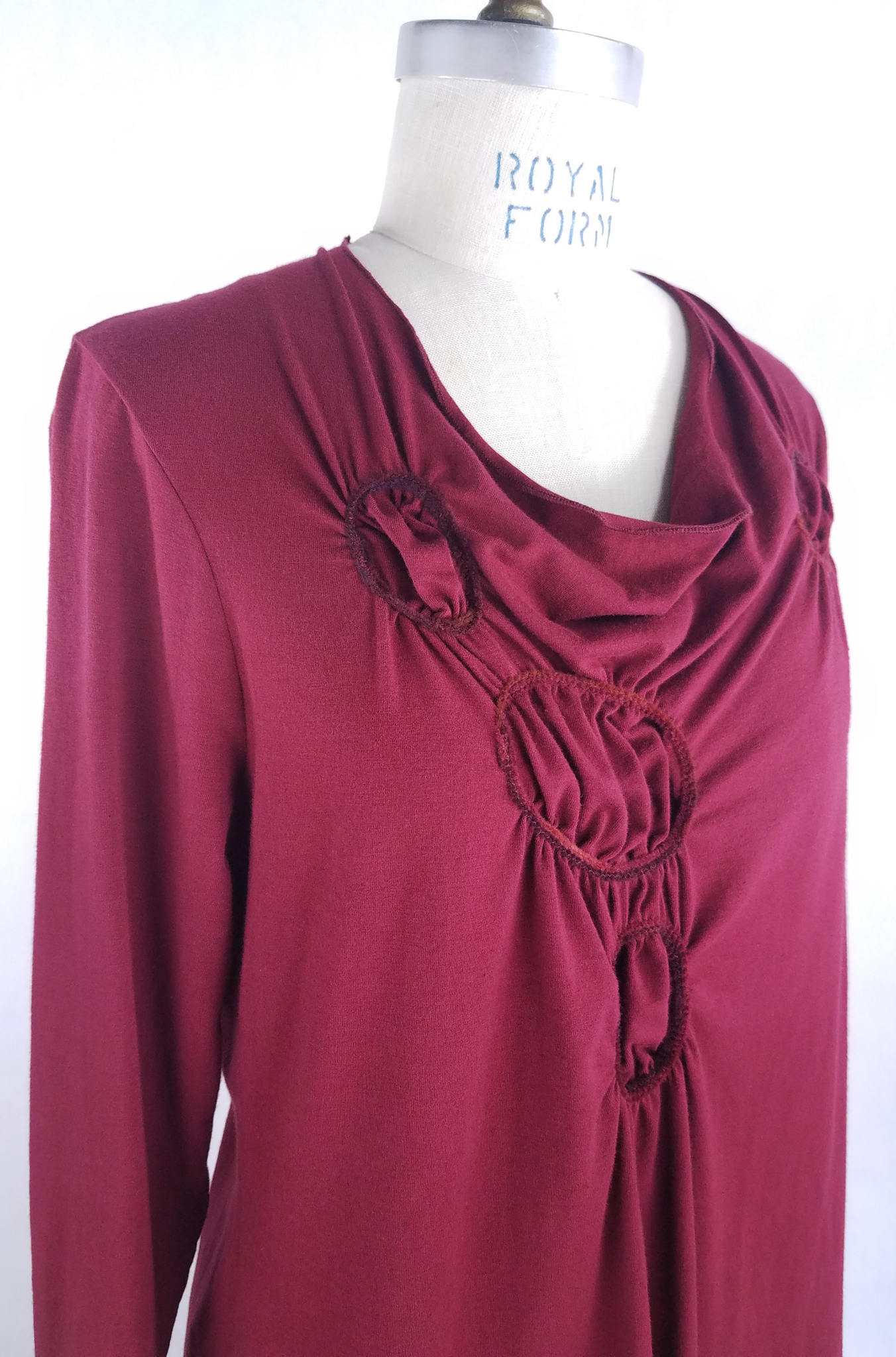 Gathered Circle Tunic in Ruby, detail