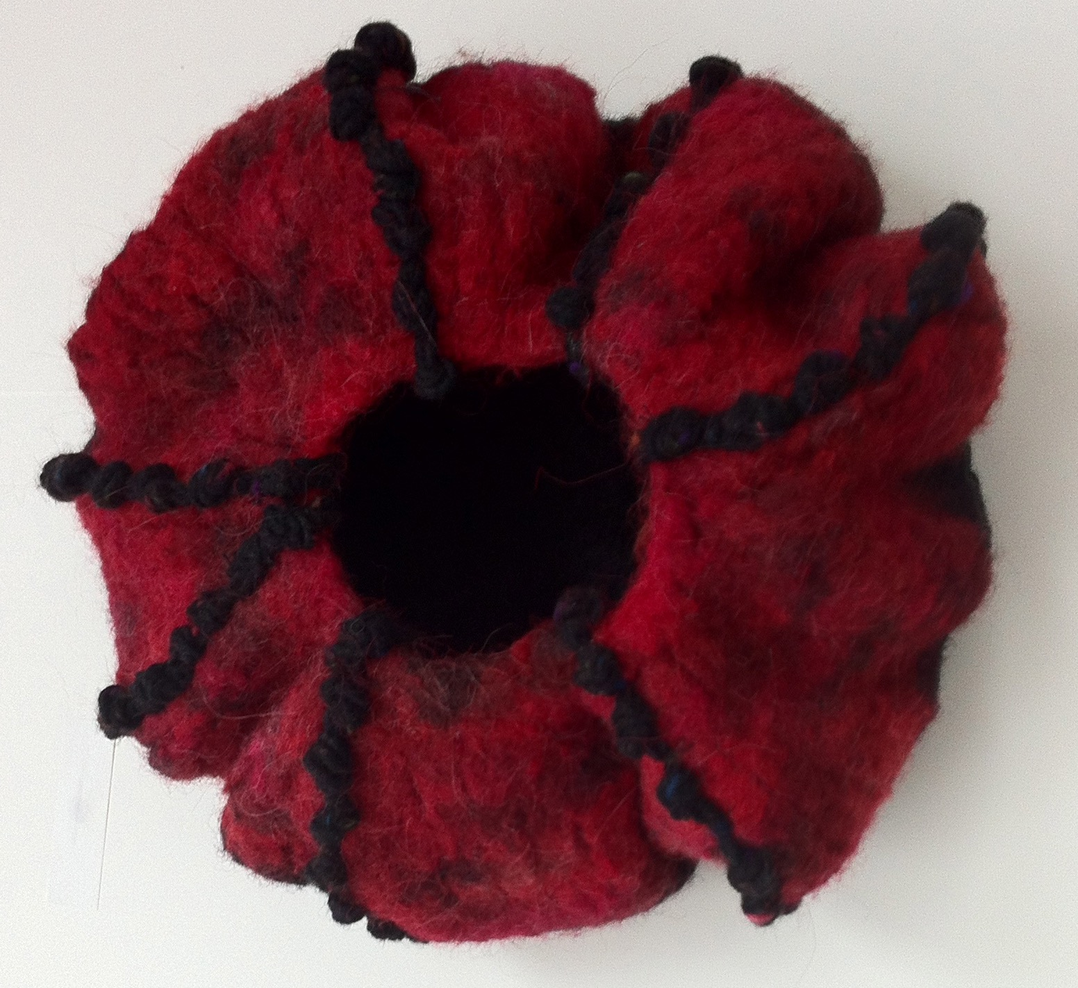 Red and Black felted vessel